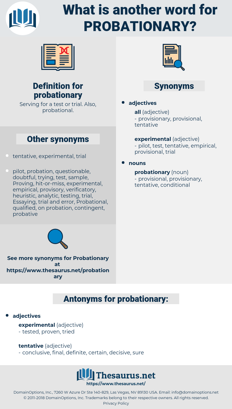 probationary, synonym probationary, another word for probationary, words like probationary, thesaurus probationary