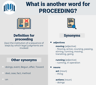 proceeding, synonym proceeding, another word for proceeding, words like proceeding, thesaurus proceeding