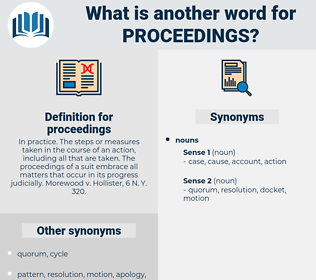 proceedings, synonym proceedings, another word for proceedings, words like proceedings, thesaurus proceedings