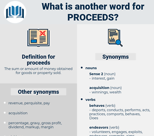 proceeds, synonym proceeds, another word for proceeds, words like proceeds, thesaurus proceeds