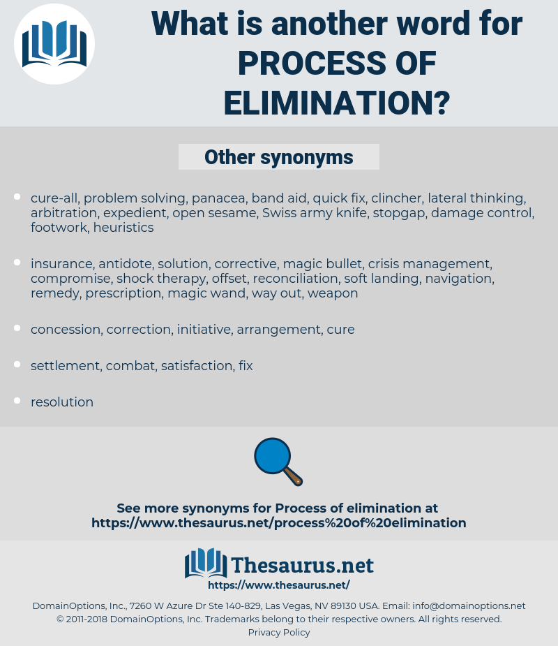 process of elimination, synonym process of elimination, another word for process of elimination, words like process of elimination, thesaurus process of elimination