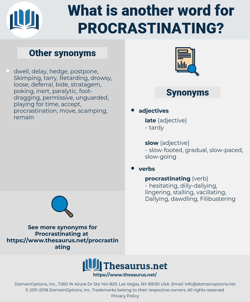 Procrastinating, synonym Procrastinating, another word for Procrastinating, words like Procrastinating, thesaurus Procrastinating