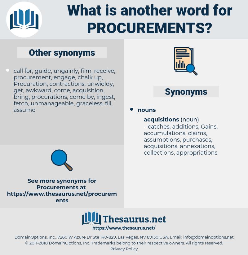 procurements, synonym procurements, another word for procurements, words like procurements, thesaurus procurements