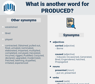 produced, synonym produced, another word for produced, words like produced, thesaurus produced