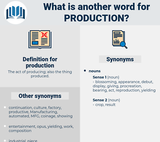 production, synonym production, another word for production, words like production, thesaurus production