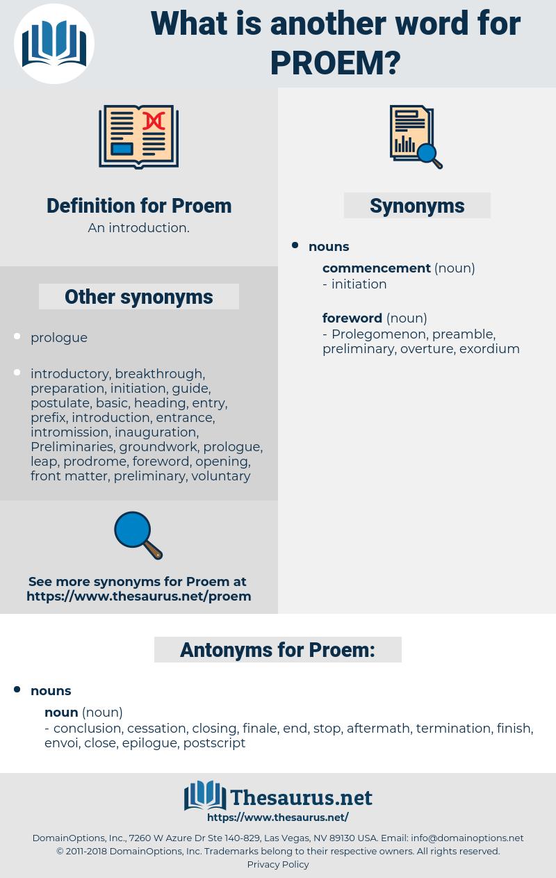 Proem, synonym Proem, another word for Proem, words like Proem, thesaurus Proem
