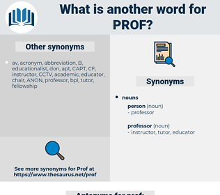 prof, synonym prof, another word for prof, words like prof, thesaurus prof