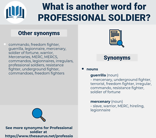 professional soldier, synonym professional soldier, another word for professional soldier, words like professional soldier, thesaurus professional soldier