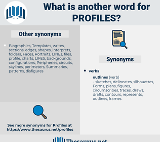 profiles, synonym profiles, another word for profiles, words like profiles, thesaurus profiles