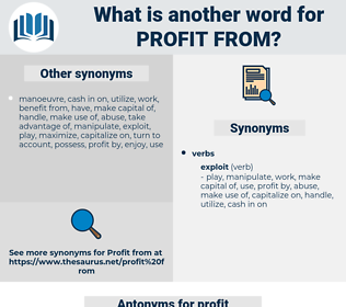 profit from, synonym profit from, another word for profit from, words like profit from, thesaurus profit from