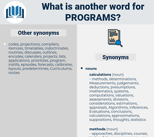 Programs, synonym Programs, another word for Programs, words like Programs, thesaurus Programs