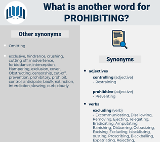 Prohibiting, synonym Prohibiting, another word for Prohibiting, words like Prohibiting, thesaurus Prohibiting