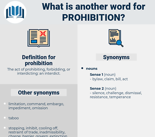 prohibition, synonym prohibition, another word for prohibition, words like prohibition, thesaurus prohibition