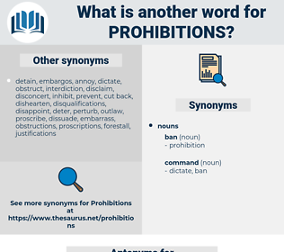 prohibitions, synonym prohibitions, another word for prohibitions, words like prohibitions, thesaurus prohibitions