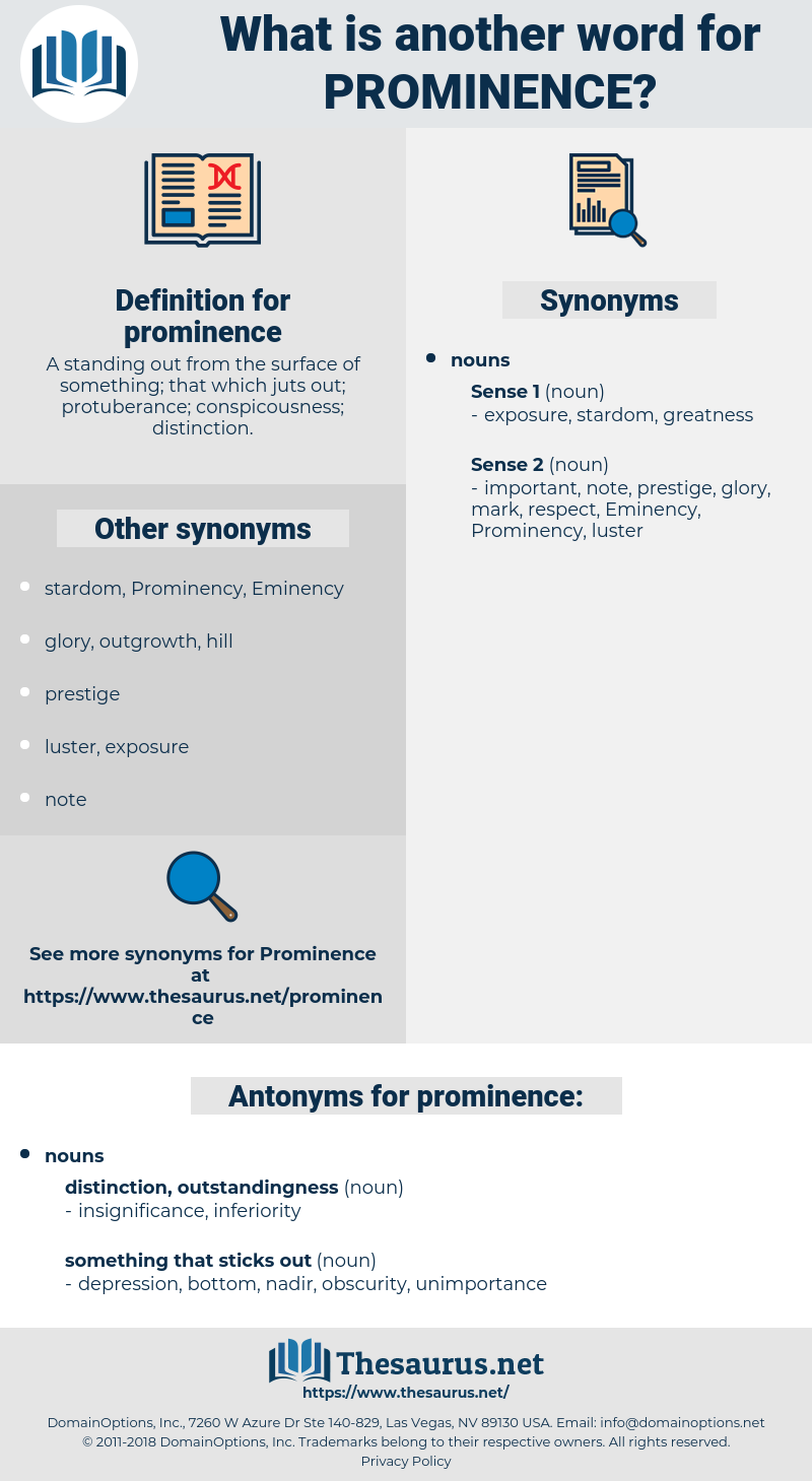 prominence, synonym prominence, another word for prominence, words like prominence, thesaurus prominence