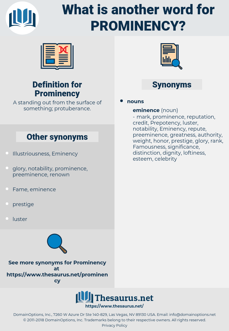 Prominency, synonym Prominency, another word for Prominency, words like Prominency, thesaurus Prominency