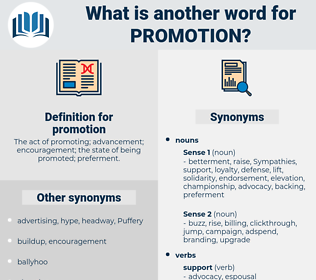 promotion, synonym promotion, another word for promotion, words like promotion, thesaurus promotion