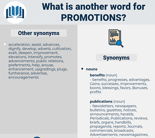 promotions, synonym promotions, another word for promotions, words like promotions, thesaurus promotions