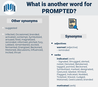 Prompted, synonym Prompted, another word for Prompted, words like Prompted, thesaurus Prompted
