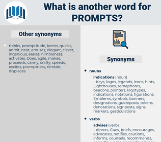 prompts, synonym prompts, another word for prompts, words like prompts, thesaurus prompts