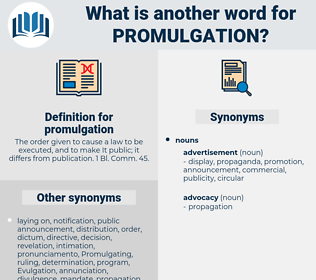 promulgation, synonym promulgation, another word for promulgation, words like promulgation, thesaurus promulgation