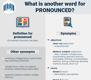 pronounced, synonym pronounced, another word for pronounced, words like pronounced, thesaurus pronounced
