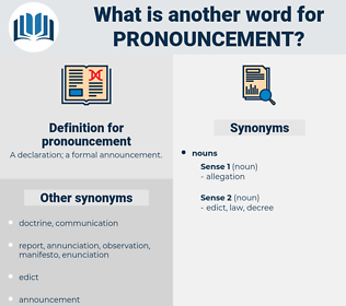 pronouncement, synonym pronouncement, another word for pronouncement, words like pronouncement, thesaurus pronouncement