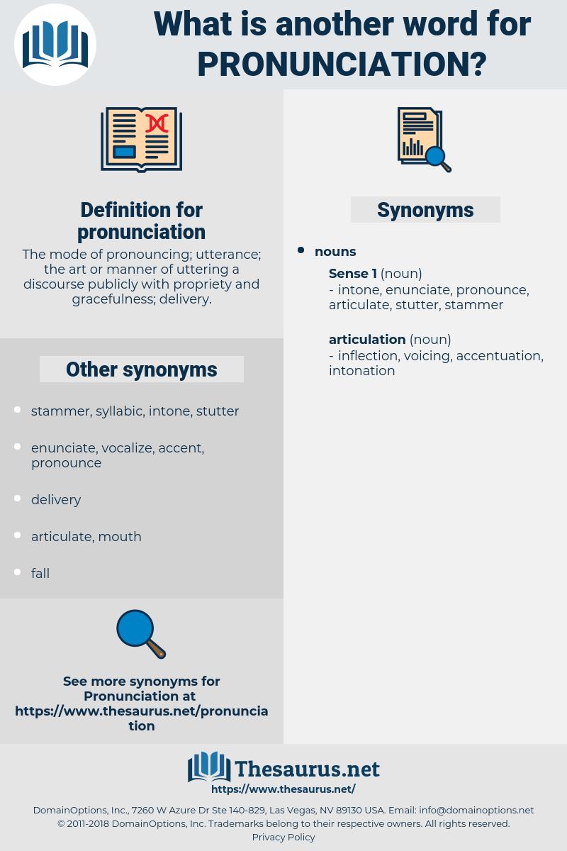 pronunciation, synonym pronunciation, another word for pronunciation, words like pronunciation, thesaurus pronunciation