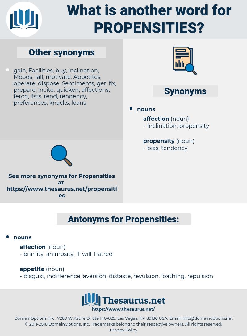 Propensities, synonym Propensities, another word for Propensities, words like Propensities, thesaurus Propensities