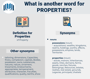 Properties, synonym Properties, another word for Properties, words like Properties, thesaurus Properties