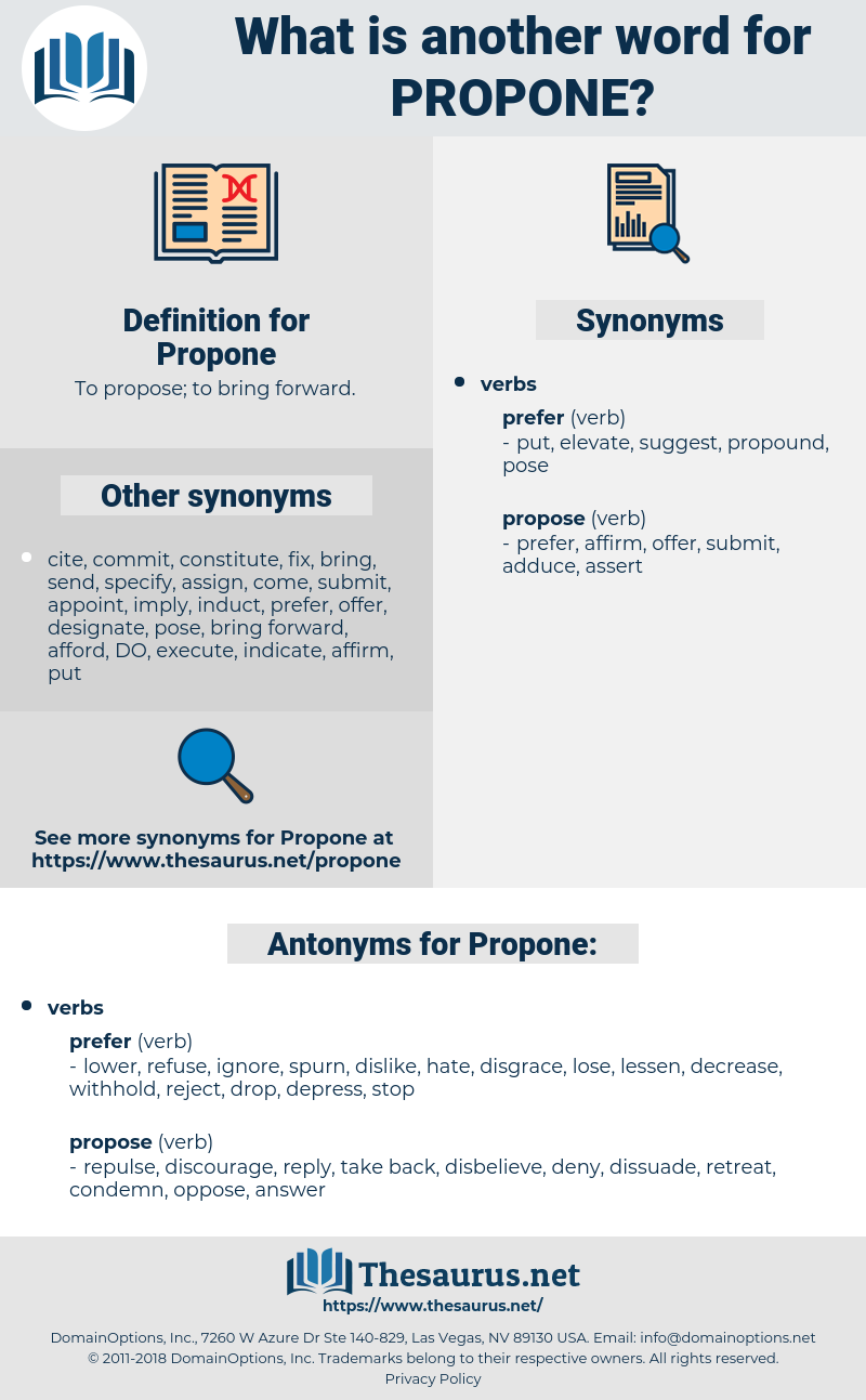 Propone, synonym Propone, another word for Propone, words like Propone, thesaurus Propone