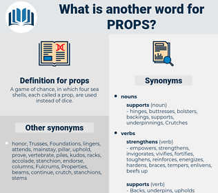 props, synonym props, another word for props, words like props, thesaurus props