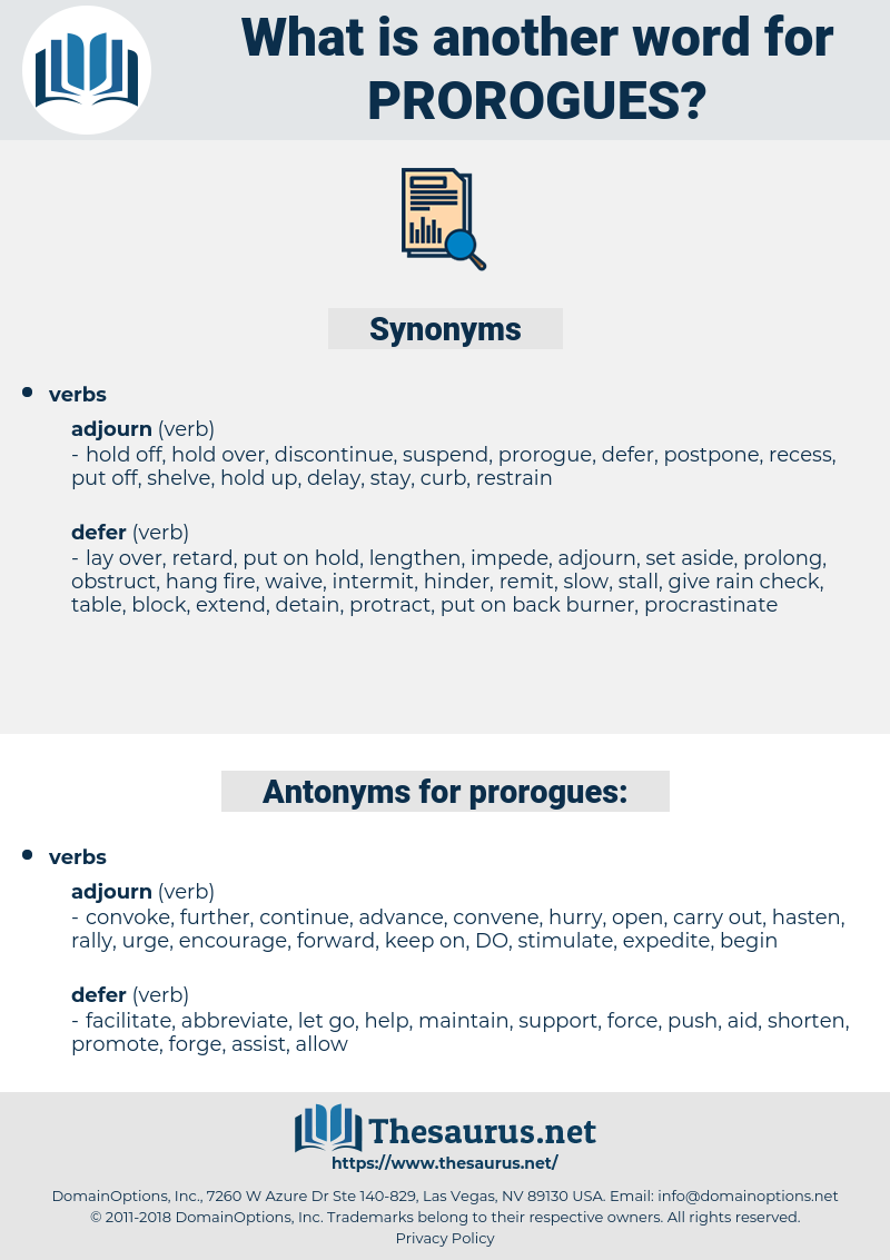 prorogues, synonym prorogues, another word for prorogues, words like prorogues, thesaurus prorogues