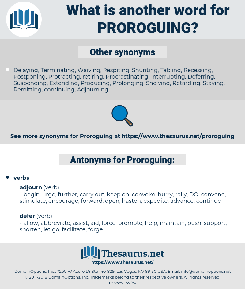 Proroguing, synonym Proroguing, another word for Proroguing, words like Proroguing, thesaurus Proroguing