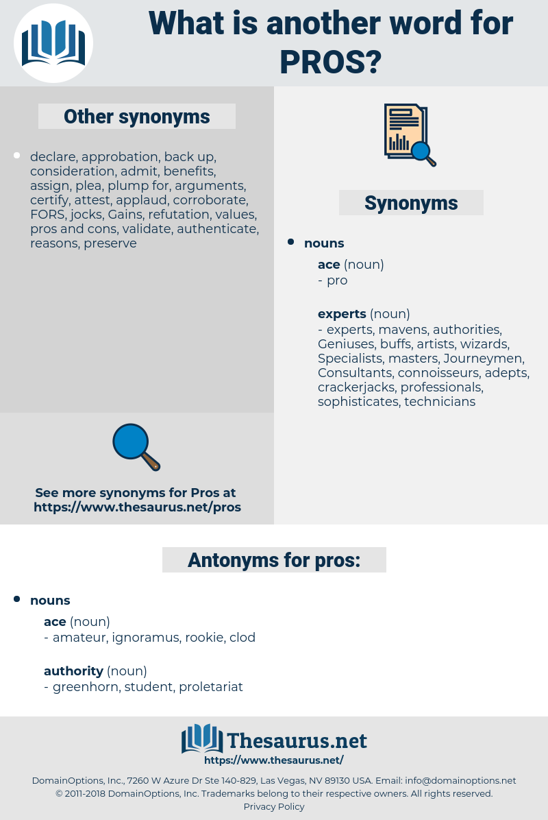 pros, synonym pros, another word for pros, words like pros, thesaurus pros