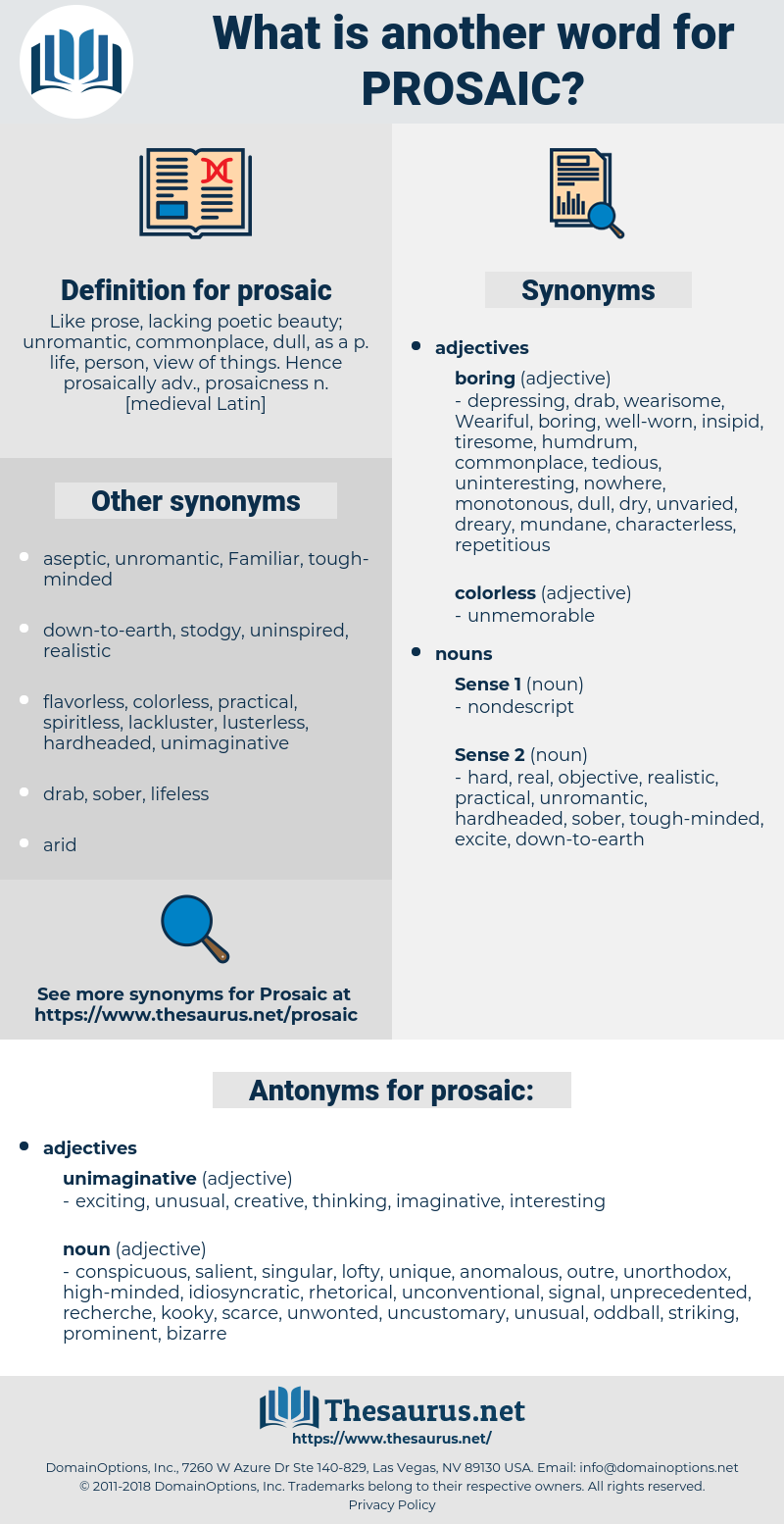 prosaic, synonym prosaic, another word for prosaic, words like prosaic, thesaurus prosaic