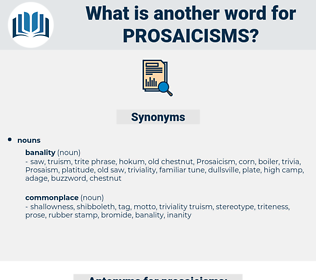 prosaicisms, synonym prosaicisms, another word for prosaicisms, words like prosaicisms, thesaurus prosaicisms