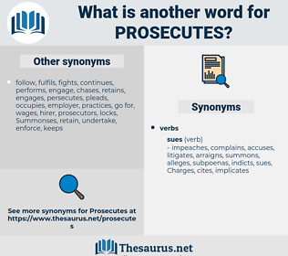 prosecutes, synonym prosecutes, another word for prosecutes, words like prosecutes, thesaurus prosecutes