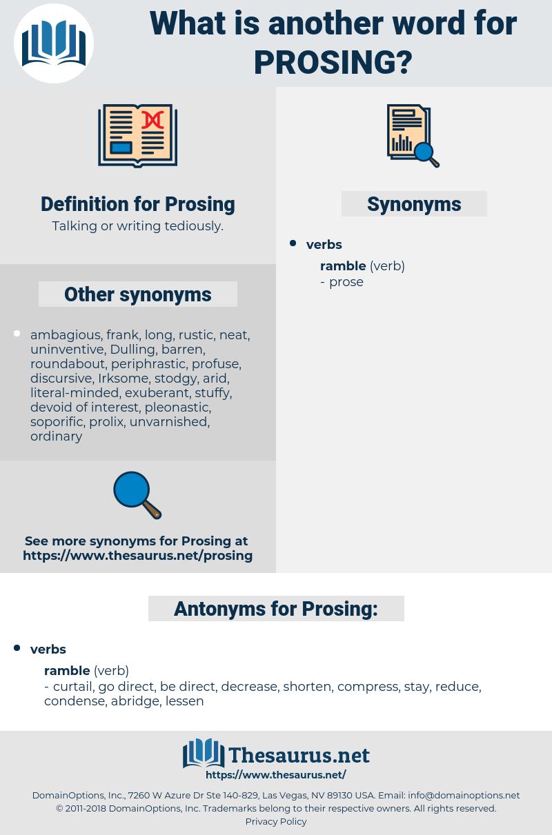 Prosing, synonym Prosing, another word for Prosing, words like Prosing, thesaurus Prosing