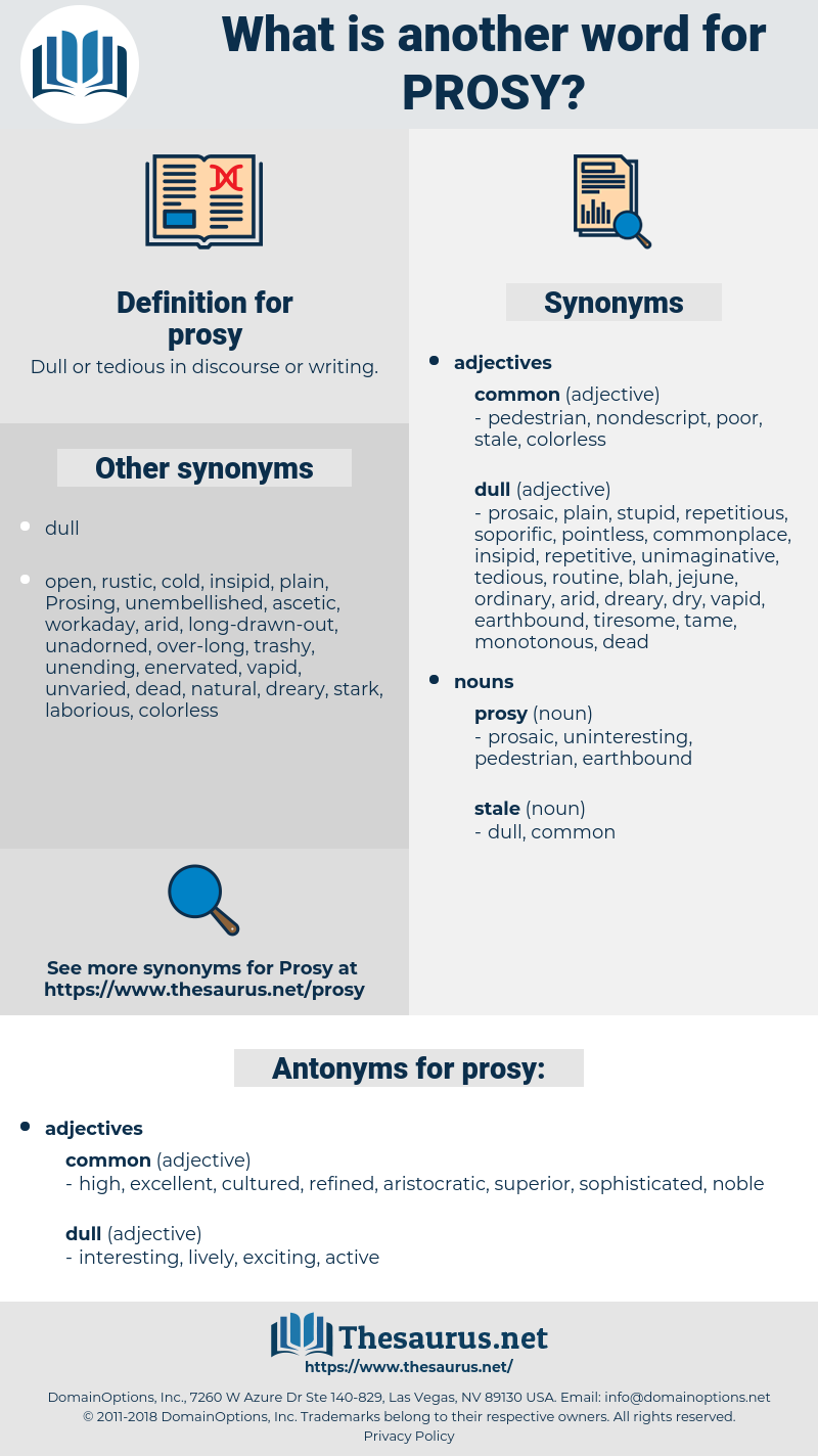 prosy, synonym prosy, another word for prosy, words like prosy, thesaurus prosy