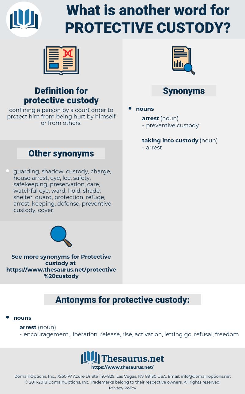 protective custody, synonym protective custody, another word for protective custody, words like protective custody, thesaurus protective custody