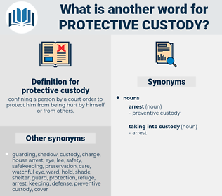 protective custody, synonym protective custody, another word for protective custody, words like protective custody, thesaurus protective custody