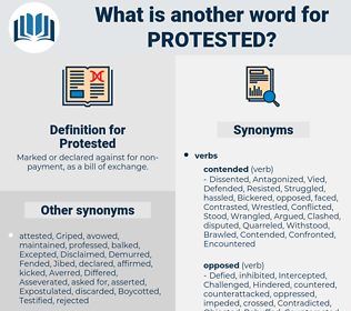 Protested, synonym Protested, another word for Protested, words like Protested, thesaurus Protested