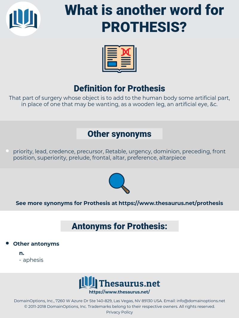 Prothesis, synonym Prothesis, another word for Prothesis, words like Prothesis, thesaurus Prothesis