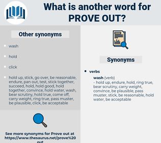 prove out, synonym prove out, another word for prove out, words like prove out, thesaurus prove out