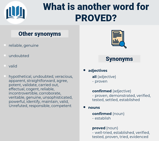 proved, synonym proved, another word for proved, words like proved, thesaurus proved
