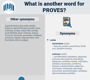 proves, synonym proves, another word for proves, words like proves, thesaurus proves
