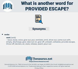 provided escape, synonym provided escape, another word for provided escape, words like provided escape, thesaurus provided escape