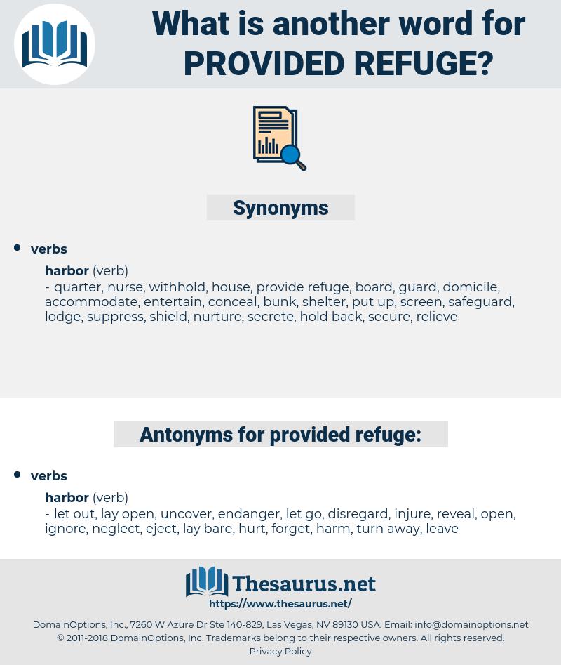 provided refuge, synonym provided refuge, another word for provided refuge, words like provided refuge, thesaurus provided refuge