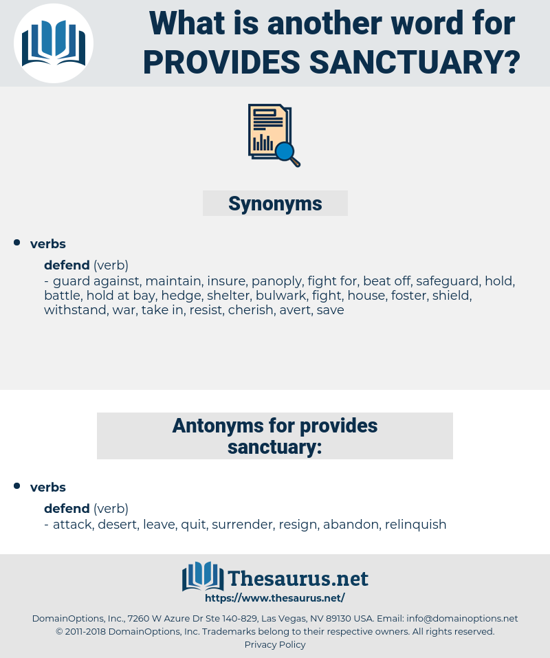provides sanctuary, synonym provides sanctuary, another word for provides sanctuary, words like provides sanctuary, thesaurus provides sanctuary